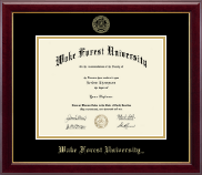 Wake Forest University Diploma Frame - Gold Embossed Diploma Frame in Gallery