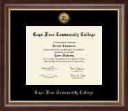 Cape Fear Community College Diploma Frame - Gold Engraved Medallion Diploma Frame in Hampshire