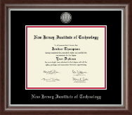 New Jersey Institute of Technology Diploma Frame - Silver Engraved Medallion Diploma Frame in Devonshire