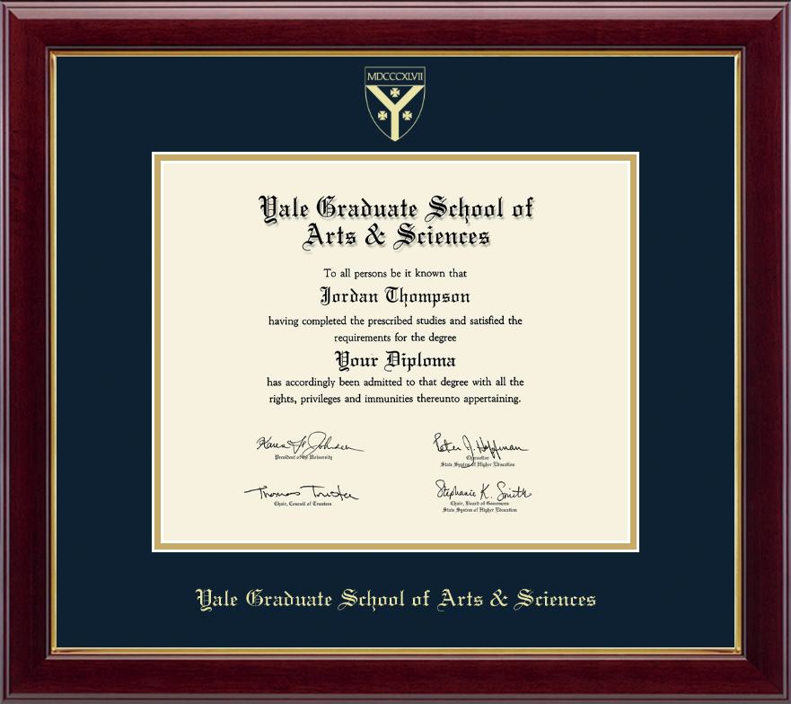 Yale University Gold Embossed Diploma Frame In Gallery