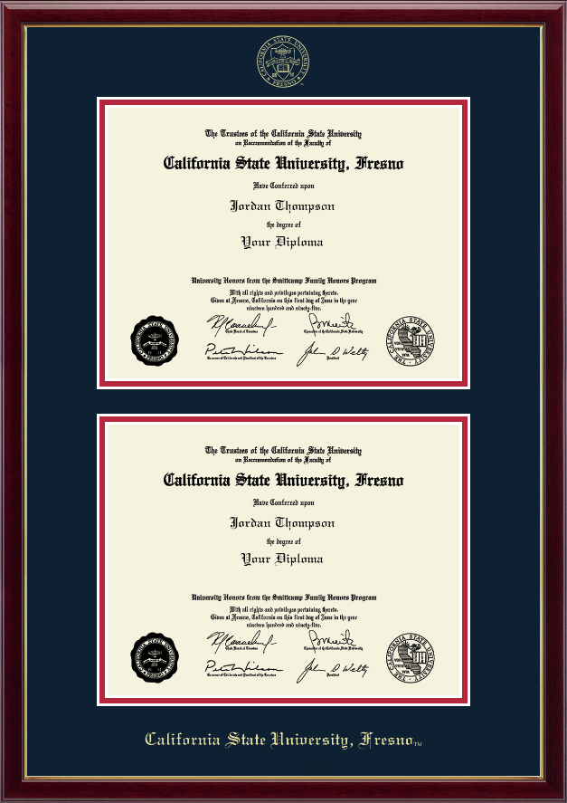 california state university fresno gold embossed double diploma frame in galleria item 136463