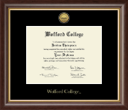 Wofford College Diploma Frame - Gold Engraved Medallion Diploma Frame in Hampshire