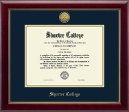 Shorter College Diploma Frame - Gold Engraved Medallion Diploma Frame in Gallery