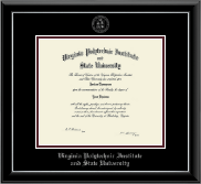 Virginia Tech Diploma Frame - Silver Embossed Diploma Frame in Onyx Silver