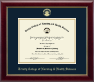 Trinity College of Nursing & Health Sciences Diploma Frame - Gold Embossed Diploma Frame in Gallery