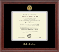 Wells College Diploma Frame - Gold Engraved Medallion Diploma Frame in Signature