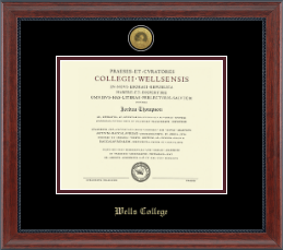 wells college diploma frame gold engraved medallion diploma frame in signature - Diploma Frames Cheap