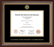 California State University San Bernardino Diploma Frame - Gold Engraved Medallion Diploma Frame in Hampshire