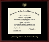 University of Maryland, Baltimore County Diploma Frame - Gold Embossed Diploma Frame in Camby
