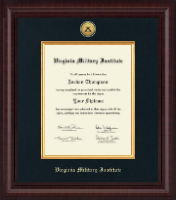 Virginia Military Institute Diploma Frame - Presidential Gold Engraved Diploma Frame in Premier