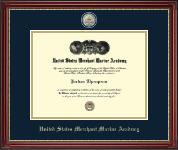 United States Merchant Marine Academy Diploma Frame - Masterpiece Medallion Diploma Frame in Kensington Gold