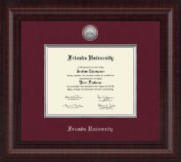 Friends University Diploma Frame - Presidential Silver Engraved Diploma Frame in Premier