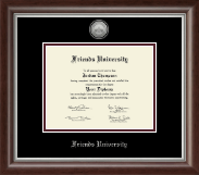 Friends University Diploma Frame - Silver Engraved Medallion Diploma Frame in Devonshire