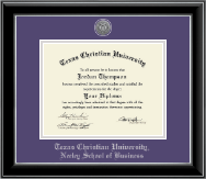Texas Christian University Diploma Frame - Silver Engraved Medallion Diploma Frame in Onyx Silver