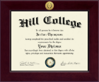 Hill College Diploma Frame - Century Gold Engraved Diploma Frame in Cordova