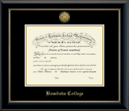 Bowdoin College Diploma Frame - Gold Engraved Medallion Diploma Frame in Onyx Gold