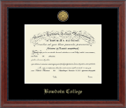 Bowdoin College Diploma Frame - Gold Engraved Medallion Diploma Frame in Signature