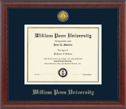 William Penn University Diploma Frame - Gold Engraved Medallion Diploma Frame in Signature
