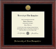 University of New Hampshire Diploma Frame - Gold Engraved Medallion Diploma Frame in Signature