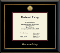 Westmont College Diploma Frame - Gold Engraved Medallion Diploma Frame in Onyx Gold