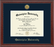 Quinnipiac University Diploma Frame - Gold Engraved Medallion Diploma Frame in Signature