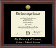 The University of Vermont Diploma Frame - Gold Engraved Medallion Diploma Frame in Signature