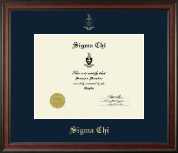 Sigma Chi Certificate Frame - Gold Embossed Certificate Frame in Studio
