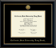 California State University Long Beach Diploma Frame - Gold Engraved Medallion Diploma Frame in Onyx Gold