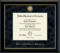 Dallas Theological Seminary Diploma Frame - Gold Engraved Medallion Diploma Frame in Onyx Gold