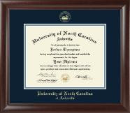 University of North Carolina Asheville Diploma Frame - Gold Embossed Diploma Frame in Rainier