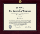 The University of Tennessee Martin Diploma Frame - Century Gold Engraved Diploma Frame in Cordova