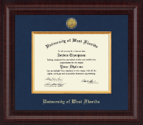 University of West Florida Diploma Frame - Presidential Gold Engraved Diploma Frame in Premier