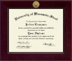 University of Wisconsin-Stout Diploma Frame - Century Gold Engraved Diploma Frame in Cordova