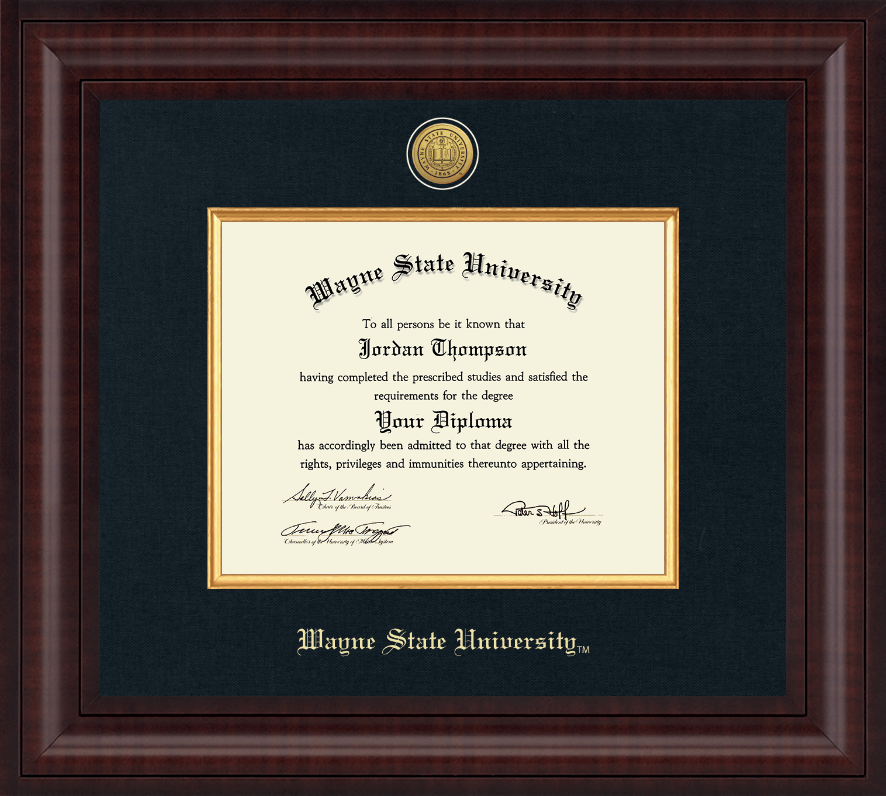 Wayne State University Presidential Gold Engraved Diploma