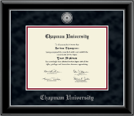 Chapman University Diploma Frame - Silver Engraved Medallion Diploma Frame in Onyx Silver