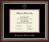 Chapman University Diploma Frame - Silver Embossed Diploma Frame in Devonshire