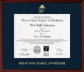 Mount Sinai School of Medicine Diploma Frame - Gold Embossed Diploma Frame in Camby