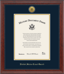 United States Coast Guard Certificate Frame - Gold Engraved Medallion Certificate Frame in Signature
