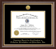 American Board for Certification in Orthotics, Prosthetics & Pedorthics Certificate Frame - Gold Engraved Medallion Certificate Frame in Hampshire