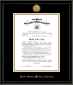 United States Military Academy Certificate Frame - Gold Engraved Medallion Commission Certificate Frame in Onexa Gold