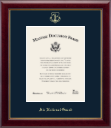 Gold Embossed Air National Guard Certificate Frame - Vertical