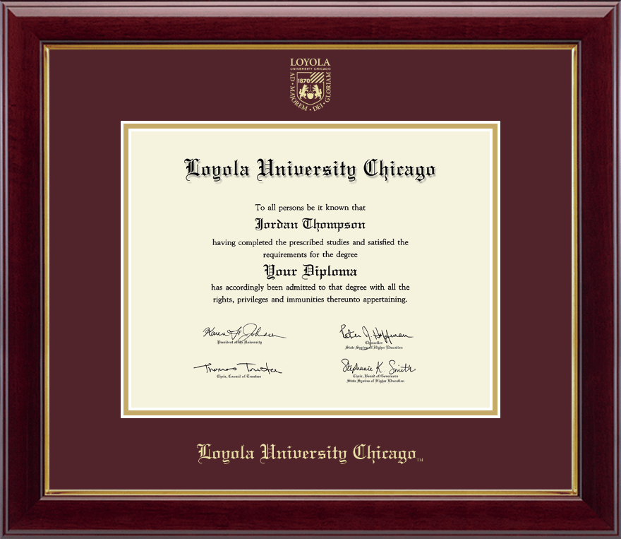 Loyola University Chicago Gold Embossed Diploma Frame in Gallery ...