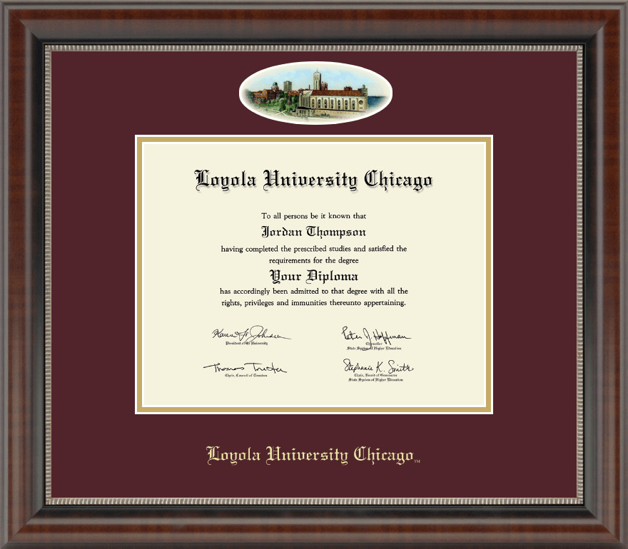 Loyola University Chicago Campus Cameo Diploma Frame In