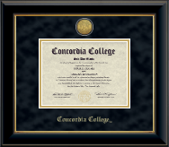 Concordia College Moorhead Diploma Frame - Gold Engraved Medallion Diploma Frame in Onyx Gold