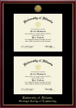 University of Illinois Diploma Frame - Gold Engraved Double Diploma Frame in Galleria