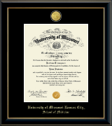 University of Missouri Kansas City Diploma Frame - 23K Medallion Diploma Frame in Onyx Gold