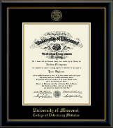 University of Missouri Columbia Diploma Frame - Gold Embossed Diploma Frame in Onyx Gold