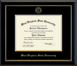 West Virginia State University Diploma Frame - Gold Embossed Diploma Frame in Onyx Gold