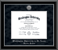 Washington University in St. Louis Diploma Frame - Silver Engraved Medallion Diploma Frame in Onyx Silver