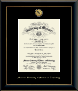 Missouri University of Science and Technology Diploma Frame - Gold Engraved Medallion Diploma Frame in Onyx Gold